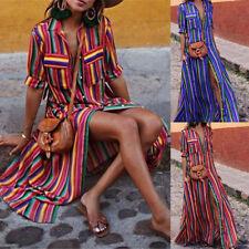 UK Women Button Striped Maxi Casual Loose Long Dress Tea Dress Boho Shirt Dress