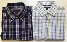2 Banana Republic Men's long sleeve plaid shirts 15-15 1/2 M Slim Fit Non Iron