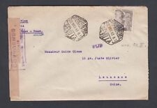 SPAIN 1943 2 PTAS FRANCO WWII CENSORED COVER SEVILLE TO LAUSANNE SWITZERLAND