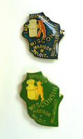 Wisconsin State Vintage Enamel Pins from the 80's Milwaukee Madison Beloit