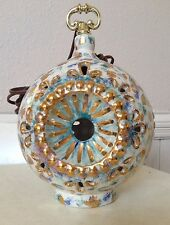 RARE MAJOLICA GLAZED GOLD & BLUE HANGING SWAG BALL ELECTRIC LAMP LIGHT
