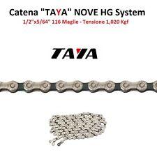 """Catena """"TAYA"""" NOVE 9 Velocità 116 Maglie Silver/Nero per bici 26-28 Corsa Pista"""