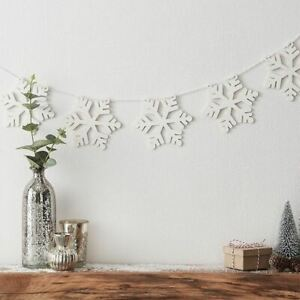 White Wooden Christmas Snowflake Bunting   Hanging Festive Decoration 2m