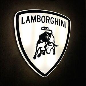 LAMBORGHINI 1974 BADGE LED ILLUMINATED WALL LIGHT BOX SIGN GARAGE GAS & OIL