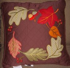 AUTUMN Leaves Country Brown Quilted Home Decor Pillow 17 x 17