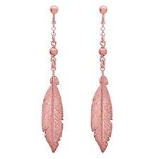 Feather Dangle Earrings .925 Sterling Silver, Love Gift, Chain Drop Earrings