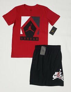 BOYS NIKE AIR JORDAN Shirt & Shorts 2 Piece Set Red & Black SIZE 10-12  (M) NWT