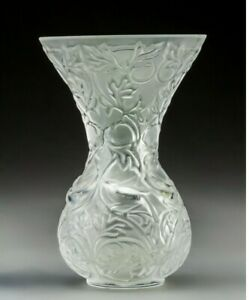 """Lalique Arabesque Vase 5 1/8"""" tall France Frosted Crystal"""
