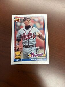 DAVID JUSTICE ROOKIE 1991 Topps Baseball #329 NM FS