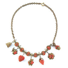 Antique Chinese Woven Red Coral & Gilt Metal Novelty Charm Necklace, C.1900