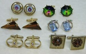 Vintage Lot 6 Pair Cuff links Rhinestones, all but 1 signed SWANK