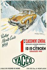 RALLYE MONTE CARLO  YACCO 1959 Citreon Automobile car Auto Deco Poster Print