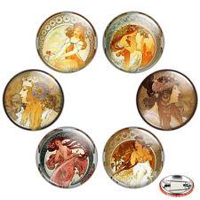"Alphonse Mucha Artwork 1.25"" Pinback Button BADGE SET #2 Art Nouveau Pins Gift"