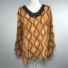 Ashley Stewart Women Blouse Top Size 14W Long Sleeves Top Shirt Polyester - C33