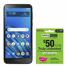 Simple Mobile Moto e6 4G LTE Prepaid Cell Phone w/ $50 Airtime Plan Included