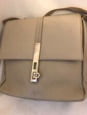 Authentic SALVATORE FERRAGAMO Taupe Shoulder Bag Purse