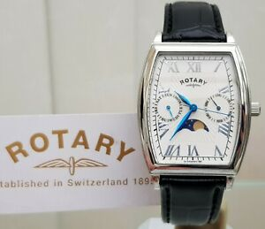 Mens ROTARY Moonphase watch Mineral glass Leather Rectangular RRP£190 Boxed R128