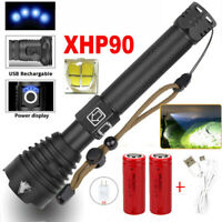Powerful XHP90 LED Zoom Flashlight Hunting Light Torch USB Rechargeable 26650