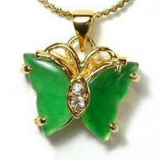 18KGP Green Jade & Crystal Butterfly Pendant and Necklace