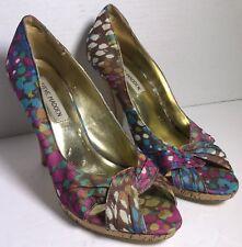 Steve Madden Multi-Colorful Peep Toe P-DESTIN Stiletto Cork Heels Women's 8M