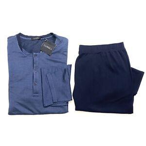 LA PERLA Mens Henley Neck Cotton Pajama Pant Shirt Set Blue (MSRP $620)
