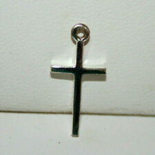Small Shiny 925 Sterling Silver Cross Charm or Pendant