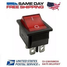 DPST ~ Double Pole Single Throw 4-Pin  (ON-OFF) 20amp Red LED Rocker Switch