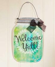 SOUTHERN SAYING WALL HANGING: BLUE & GREEN MASON JAR WELCOME Y'ALL! WALL HANGING
