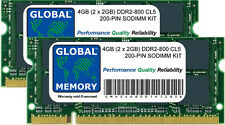 4gb (2x 2GB) DDR2 800mhz pc2-6400 200 pines SODIMM Intel iMac & MacBook RAM Kit