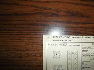 1976 Pontiac & Firebird Models 350 CI V8 4BBL SUN Tune Up Chart Great Shape!