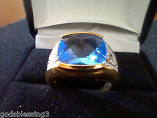 MENS WOMEN 18K GOLD & SS CARIBBEAN QUARTZ & DIAMOND WEDDING ENGAGEMENT RING SZ 7