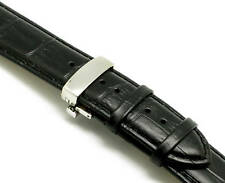 24mm Black Croco Embossed Leather Watch Strap Stainless Push Button Clasp