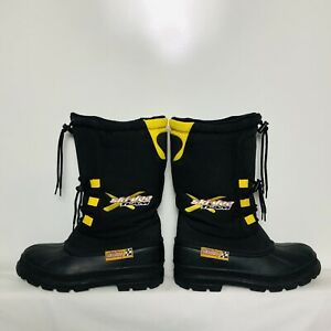 Ski-Doo X Team Black & Yellow Insulated Snowmobile Boots Size 9 EXCELLENT