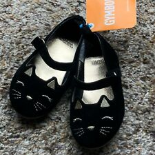 NWT Gymboree Toddler Baby Girls Black Dress Shoes Kitty Cat Gold Size 4