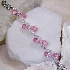 "Wholesales 5 strands x 16Ct Pink Sapphire & White Topaz Silver Bracelet 7""Gbr194"