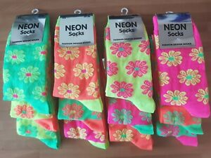Ladies novelty neon coloured flower print ankle socks bundle x 6 pairs, size 4-6