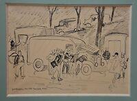Yves BRAYER (1907/1990)-Dessin original à l'encre noire-Romorentin-Orléans 1939