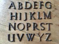 X1 Antique Letter Font Typeface Solid Bronze Vintage Reclaimed Sign