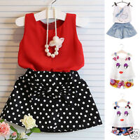 Kids Baby Girls Summer Clothes Outfits Set Strap Vest T-shirt Tops+Shorts Skirt