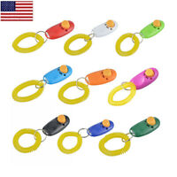 2pc Dog Pet Clicker Training Obedience Agility Trainer Click Whistle Keyring OCC