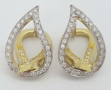Italy 18K 2-Tone Gold Fashion Leaf Teardrop 0.65 ct Diamond Hugger Earrings