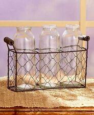 Triple Country Glass Bottle Vases Wire Basket Rustic Primitive Farmhouse Decor