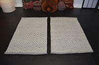 , handgewebter Teppich Kelim Kilim Wolle auf Wolle 2x 90 x 60 cm NEU Grau Beige
