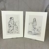 1842 Antico Impronte King Charles II Storico Periodo Costume Moda