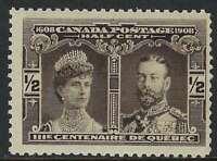 Scott 96 - 1/2c Brown Black 1908 Quebec Tercentenary Prince of Wales, F-VF-NH