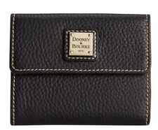 Dooney & Bourke Black Pebbled Grain Leather W/White Stitching Small Flap Wallet