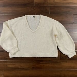 Madewell Women's Size XL Pearl White Balloon Sleeve Pullover Sweater Top