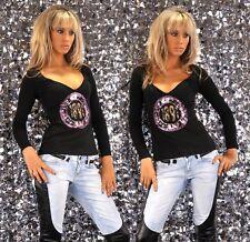 Shirt Stretchshirt Stretch schwarz 34/36 M Pink Langarm Damen Shirt Pailletten