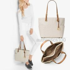 NEW MICHAEL KORS JET SET ITEM EAST WEST EW SIGNATURE LOGO TOTE VANILLA