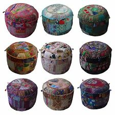 Indian Handmade Round Ethnic Embroidery Vintage Patchwork Footstool Pouffe Cover